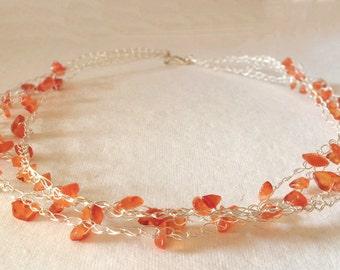 Orange gemstone Necklace, birthstone, Carnelian gemstone Necklaces, Silver Crochet Beach Summer Jewelry