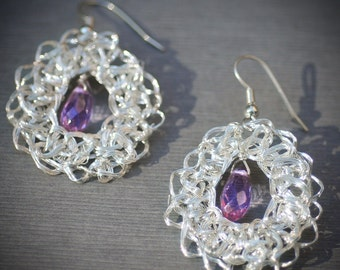 Amethyst Lace Earrings Fine Silver Crochet Lace Oval Cable Handmade Chain Unique winter summer wedding jewelry accessories