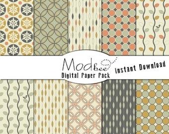 """Digital Paper 10 PACK - Geometric Sage, Mustard, Coral, Grey and Cream  (300 dpi) -- 10 designs - 12"""" by 12"""" Instant Download (069)"""