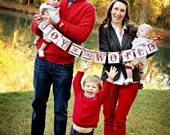 Holiday Garland & Banner Christmas Decoration - Joy to the World Christmas Garland - Christmas Banner - Merry Christmas Decorations