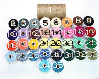 Waxed Irish Linen Thread  4Ply 175 yards - 5 yards of every color - 35 different colors