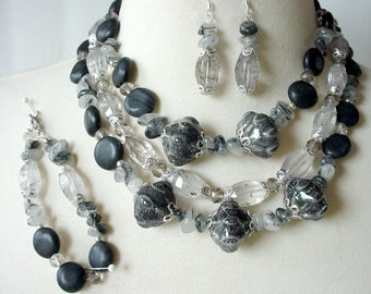 Charcoal Gray Statement Necklace, Big Bold Chunky Necklace, 3 Piece Set, Semiprecious Stone, Multi Strand, Large Bead Necklace