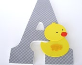 Duck Custom Decorated Wooden Letters, Nursery Name Alphabet Décor, Unisex Bedroom, Hanging Wood Wall Decorations, Birthday Baby Shower Gift