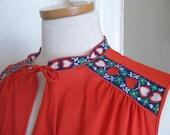 1960s Vintage Vanity Fair Nightie with Folksy Heart Trim, Nightgown, Pajamas, Nighty, Hippie