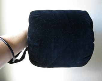 1800s Antique Black Velvet Muff Hand Warmer, Victorian, Steampunk, Winter Accessories