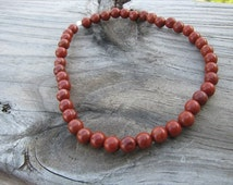 Ankle Bracelet- Red Jasper- Stone Anklet, terra cotta colored