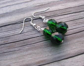 Emerald Green Glass Beaded Earrings
