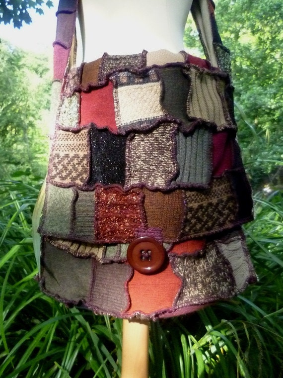 Happy Scrappy tote hobo bag - made from recycled sweaters by SpiralGypsy