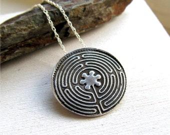 Labyrinth Necklace, Chartres Labyrinth, Fine Silver Labyrinth, Meditation Jewelry