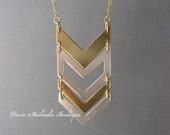 Long Chevron Pendant, Chevron Necklace, Gold and Silver Statement Necklace, Chevron Jewelry