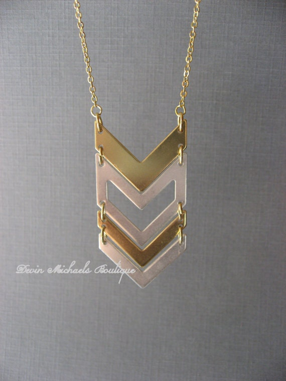 chevron pendant chevron necklace gold and silver