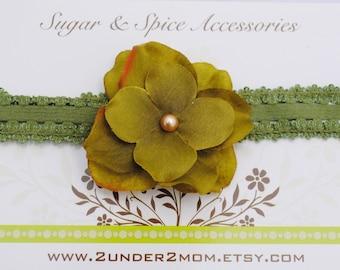 Willow Green Flower Headband - Willow Headband - Newborn Headband
