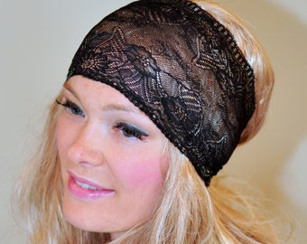 Lace Headband Black Women Headband Stretch Wide Headwrap Vintage Wide Headband Girly Mothers Day Gift Birthday Fashion