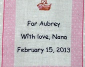 Baby Quilt Label - Pink Bassinet, Custom Made & Hand Embroidered