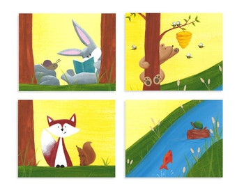 Woodland Print Set - Forest Animal Prints - Forest Nursery Decor - Set of 4 Prints