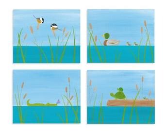 Lake Print Set - Kids Room Fine Art - Lake Artwork - Turtle Prints - Duck Prints