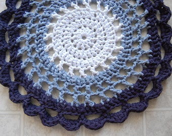 Blue Ombre Crochet Rug - Recycled Tshirts