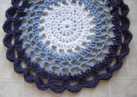 Items similar to Blue Ombre Crochet Rug - Recycled Tshirts ...