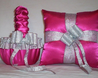 Fuchsia Hot Pink Satin With Silver Trim  Flower Girl Basket And Ring Bearer Pillow Set 1