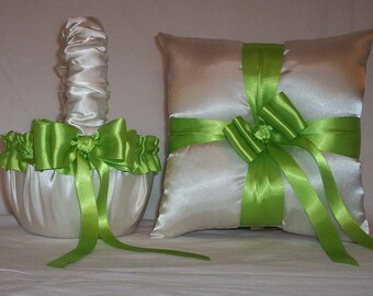 Ivory Cream Satin With Apple Green (Lime) Ribbon  Flower Girl Basket And Ring Bearer Pillow Set 2