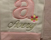 Girls Flower Burp Cloth Personalized with an Appliqué