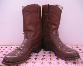 Vintage Leather Justin Boots, Brown sz. 8B