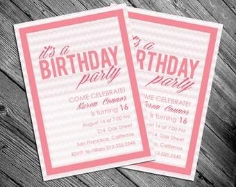 Pretty and Pink Birthday Invitation