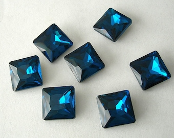 2pcs- Vintage Faceted Glass Foiled Back Jewels Blue Zircon Square12x12mm