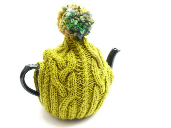 UK HandKnit Tea Cosy , knitted tea pot cover , lime green cosy , hand knitted kitchen decor , CLEARANCE SALE , wool gift , gift for her