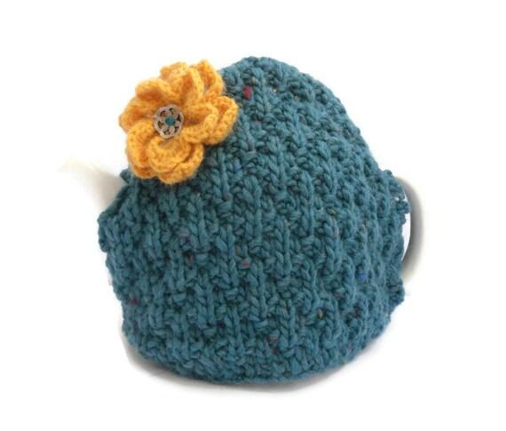 Turquoise Tea Pot Cosy , handknit tea cozy , chunky cover , kitchen accessory , tea cosy,  tea pot cover , tea pot warmer