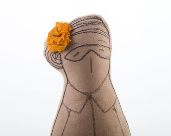 African woman doll with glasses turquoise skirt with brown leaves and golden orange hair flower-  Soft sculpture - Handmade cloth doll