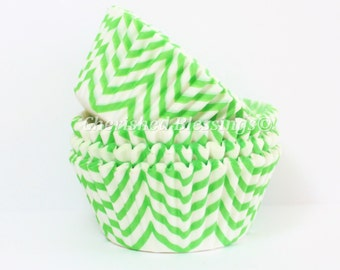 Cupcake Liners, Chevron Cupcake Liners,Buy One Get One, Lime Green Baking Cups, Chevron Cupcake Cups, Muffin Cups, Weddings Baby Showers