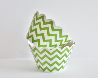 Chevron Cupcake Wrappers, Chevron Cupcake Liners, Lime Green Baking Cups, Chevron Cupcake Cups, Weddings, Baby Showers, Birthday Party, 12