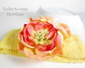Yellow Terry Cloth Headband - Orange Flower Headband