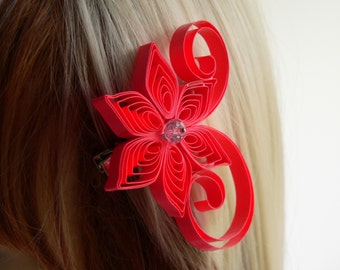 Padparadscha Wedding Hair Clip, Fiery Orange  Wedding Hair Accessory