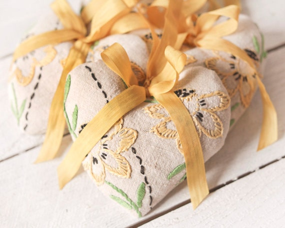 Lavender Sachet - Aromatherapy Hearts made with Vintage Embroidered Linen