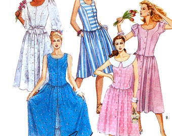 McCall's 3580 Vintage 80s Misses' Dress with Tie Belt Sewing Pattern - Uncut - Size 12 - Bust 34