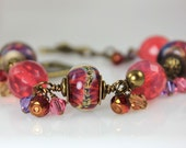 Reserved for Tanya G- Strange Animal -Artisan Lampwork, Czech Glass and Swarovski Crystal Bracelet
