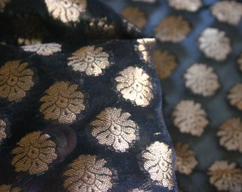 SALE Black Paisleys - 1 yard of Cotton Silk Brocade Fabric in Black with gold