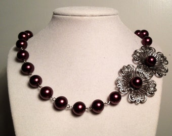 Kimberly Dogwood Necklace - Antique Silver and Eggplant Purple
