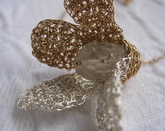 Crochet Pendant GF14K And Silver With Natural Crystal. For example