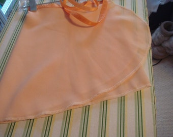 Ballet Wrap Skirt, Peach Crepe with Cream Ribbon, 14""