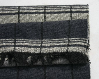 Classic Wool Plaid Scarf in Black and Grey with Fringed Edge 1950s