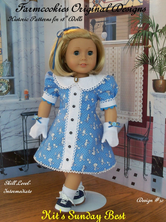 "PRINTED SEWING PATTERN  For American Girl Doll Clothes / Kit's Sunday Best / Clothes Fit American Girl®  or Other 18"" Doll"
