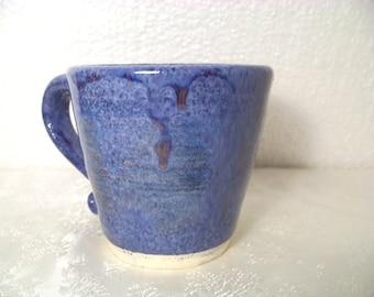 Unique Blue W/Dark Blue Specks/Splashes of Red Stoneware Coffee Mug-Tea Cup-