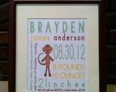 Nursery Prints, Personalized Monkey Nursery Art, On The Day You Were Born Birth Announcement Print, Preppy, Custom Framed Nursery Art
