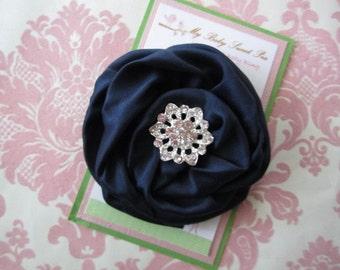 Girl hair clips - navy flower - flower hair clips - flower barrettes