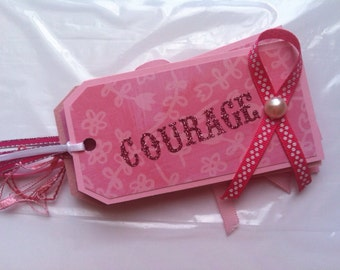 Gift Tags, Breast Cancer Awareness, Pink, Hope, Courage, Set of 5, Hang Tags,