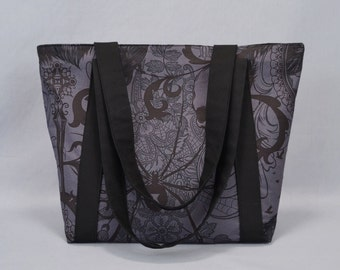 Gothic Zippered Tote Bag, Charcoal and Black, Black Widow, Ravens, Skull, Fabric Canvas Tote with Pockets