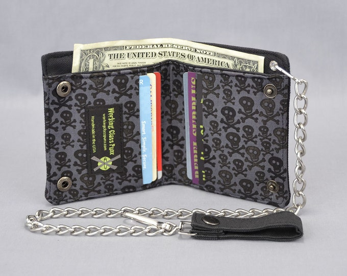 Vegan Chain Wallet Black and Gray Skull and Crossbones with Black Canvas
